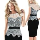 Sexy Fashion Women Lace Short Sleeve Slim Bodycon Party Cocktail Pencil Dress