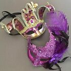 Purple Accent Glitter Half face Jolly Jester & Feather Masquerade Mask