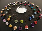 *6 ROSE HAIR GRIPS PINS CRYSTAL BRIDAL WEDDING BRIDESMAID 50 COLOURS ACCESSORIES