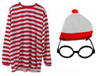 LONG SLEEVE RED WHITE STRIPE FANCY DRESS PARTY BOOK WEEK T-SHIRT HAT GLASSES SET