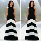 Ladies Stripe Sleeveless Maxi Dress Women Chiffon Backless Halterneck BOHO Dress