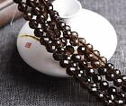 0087  Natural Brown crystal 64 Faceted gems round beads strand Smoky Quartz
