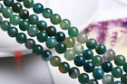 0122  Natural green plants agate loose beads round beads