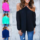 CHIC T-shirt Off-shoulder Blouse Summer Top Women Chiffon Tops Long Sleeve Shirt