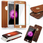 Hybrid 360° Tempered Glass + Wood Grain Effect Case Cover For iPhone 5s 6 SE