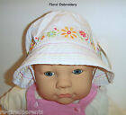 HAT - SUN - SWIM – WHITE – PINK or EMBROIDERED - GIRLS – INFANT 9  - 18 MO - NWT