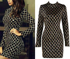 Black Gold Diamond Geometric Sequin Long Sleeve Mock Neck Bodycon Mini Dress NWT