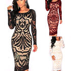 CHIC Women Bodycon Bandage Evening Cocktail Party Long Sleeve Lace Pencil Dress