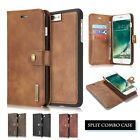 Retro Genuine Leather Card Slot Wallet Detachable Flip Case Cover for Cell Phone