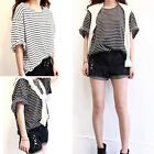 CHIC Women's Ladies Casual Loose Summer Striped Short Sleeve Blouse Tops T-Shirt