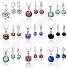 Cubic Zircon Cz Crystal Necklace Earrings Jewelry Set For Women Wedding Gifts