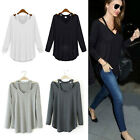 CHIC Women V-neck Plus Size Tops Loose Long Sleeve T-Shirt Casual Blouse Fashion