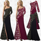 Women One Shoulder Lace Bridesmaid Long Dresses Formal Prom Evening Party Gowns