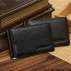 Men #A Genuine Leather Wallet with Money Clip Bifold Black Purse Male Practical