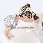 A1-R306 Fashion Fox Solitaire Simulated Rhinestone Ring 18KGP Crystal Size 8-9