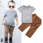 Toddler Baby Kids Boys Girls Short Sleeve Tops T-Shirt Tee+Pants Cotton Clothes