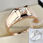 A1-R3088 Men's Solitaire Fashion Band Ring 18KGP Rhinestone Crystal Size 8-10