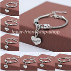 Top Charms Crystal Love Heart Bracelets Bangles For Family Friends X'mas Gifts