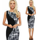 Sexy Women Sleeveless Dress Lattice splicing Package Hip Dress office dress