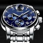 KINYUED Men's Date Stainless Steel Quartz Analog Sport Wrist Watch w/Gift Box