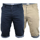 Mens Chino Shorts 55 Soul Pants Roll Up Chambray Knee Length Cotton Summer New