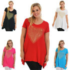 New Ladies Top Plus Size Womens Studded Heart T-Shirt Tunic Flared Nouvelle