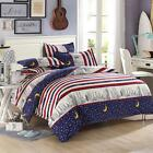 Star Moon Red Twin Double Queen King Bed Set Pillowcase Quilt Duvet Cover Lus