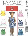 McCall's 5416 Toddlers' Tops, Dresses and Shorts   Sewing Pattern