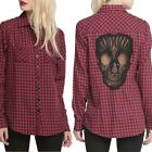Women's Loose Casual Long Sleeve Checked Blouse Shirts Skull Cutout on Back Tops