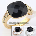 A1-R064 Fashion Simulated Onyx Ring 18KGP Rhinestone Crystal Size 5.5-9