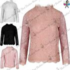 Womens Ladies Polo High Neck Full Floral Crochet Lace Back Zip Long Sleeve Top