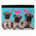Personalised Pug Puppies Girls Faux Leather Apple iPad Tablet Cover Case SH199