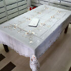 "T97 Hand Made Chiffon Silk Embroidered Cut work Tablecloth +12 Napkins 72""x108"""