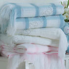 New, BeeBo Baby Shawl with Fringe, Check Pattern Baby Boys Girls White Pink Blue