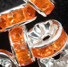 Free Ship 100pcs Silver Plated crystal spacer bead 8mm Orange