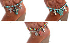 Rhinestone Cross Turquoise Western Cowboy Boot Strap Anklet Cowgirl Jewelry
