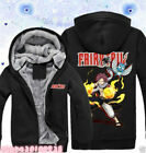 NEW Anime Fairy Tail Jacket Natsu Happy Unisex Thicken Sweater Hoodie Coat