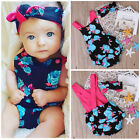 Newborn Baby Girls Boys Romper Jumpsuit Bodysuit+ Headband Clothes Outfits US