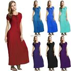 WOMENS SHORT SLEEVE SOFT MATERIAL LONG MAXI DRESS LADIES TOP SKIRT DRESSES NEW
