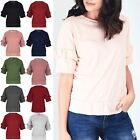 Womens Ladies Ribbed Peplum Frill Bell Short Sleeve Baggy Oversized T Shirt Top