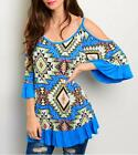 Haute Boho Gypsy Tribal Ruffle Bell Sleeve Cold Shoulder Peasant Tunic Top S M L