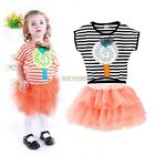 Kid Baby Girls Toddler Infant Princess Stripe Tutu Dress Sundress 4 colors K0E1
