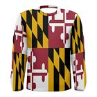 Maryland State Flag Sublimated Men's Long Sleeve T-shirt Size S-3XL Free Ship