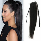 "15""-24"" Soft Halo Clip In High Straight Ponytail 100% Human Hair Extensions 80g"
