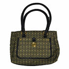 Tommy Hilfiger Satchel Purse Womens Jacquard Pattern Handbag Black Tan New Nwt