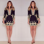 Fashion Womens Floral Deep V Neck Long Sleeve Lace Summer Party Beach Mini Dress