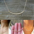 Celebrity Style Simple GOLD Silver Bar Tube Pendant Chain Necklace Women New