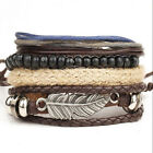 Fashion Punk Women/Men Multilayer Wrap Leather Braided Cuff Bracelet Wristband +