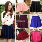 New Women Girls Candy Color Stretch Waist Plain Skater Flared Pleated Mini Skirt