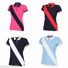 FRONT ROW LADIES DIAGONAL STRIPE COTTON PIQUE POLO SHIRT XS-XXL FR213